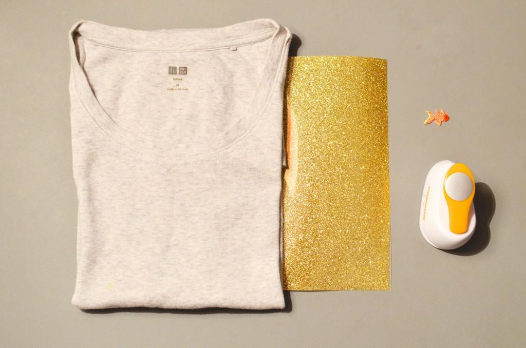 Tee-shirt à pois glitter et petit poisson japonais