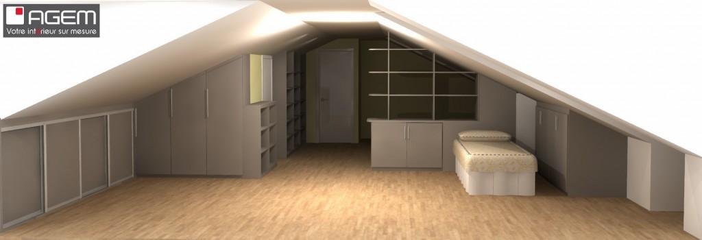 3D - GONDOIN placards et bibliothèque sous combles -finalisé (ID 6831)