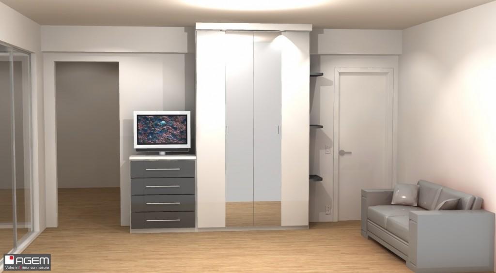 3D - GUILLIN Denis placard chambre et meuble living - (ID 7080)