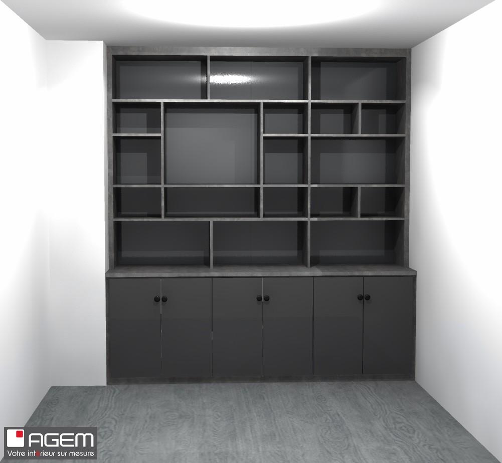 3D - ROUSSELET Karine bibliothèque et tete de lit - (ID 7153)